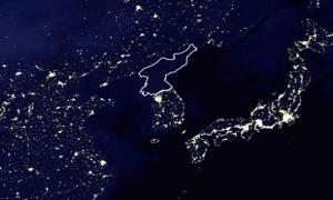 El país destacado que está a oscuras se supone que es Corea del Norte... y la verdad es que me lo creo.